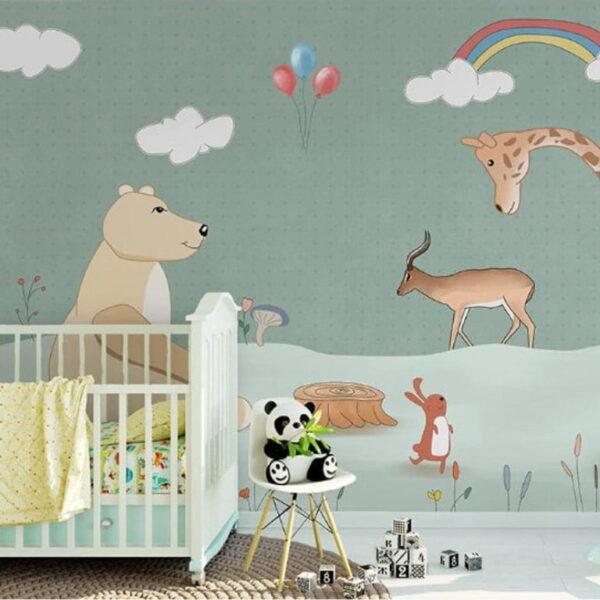 Rainbow and Animals Wall Murals Wallpaper