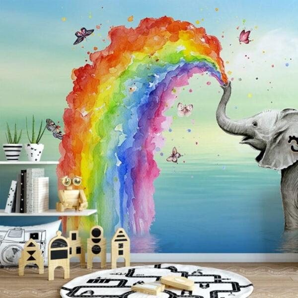 Rainbow and Elephant Wall Murals Wallpaper