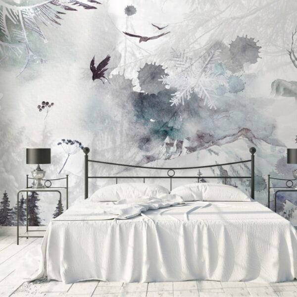 Reindeer Crows Wall Murals Wallpaper