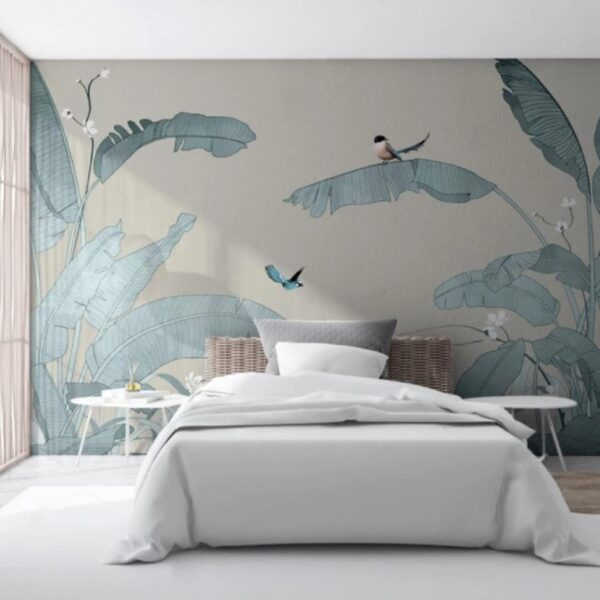 Sof Color Palm Leaves Wall Murals Wallpaper