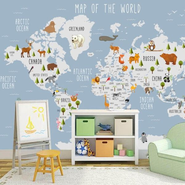 Symbolic Animals on Continents Wall Murals Wallpaper