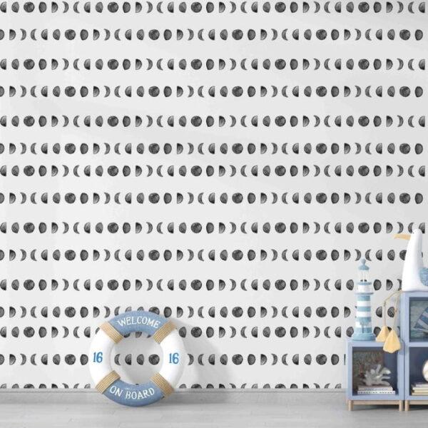 Gray Moon Wall Murals Wallpaper