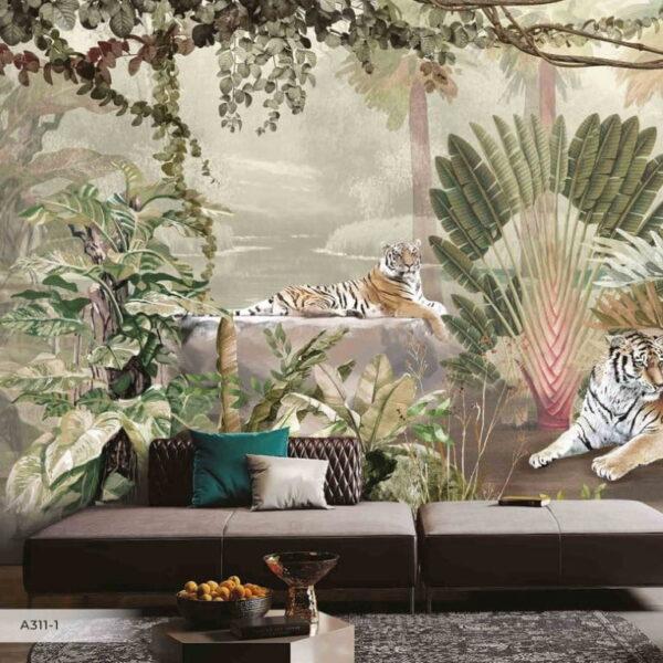 Tigers Parrots Wall Murals Wallpaper