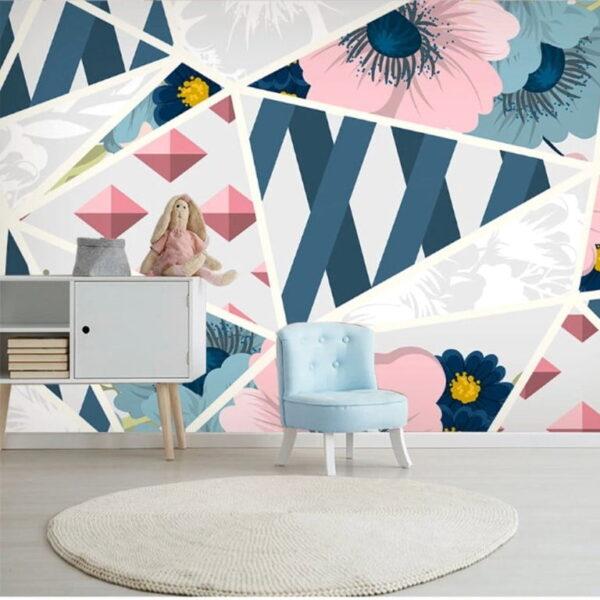 Geometric Floral Wall Murals Wallpaper