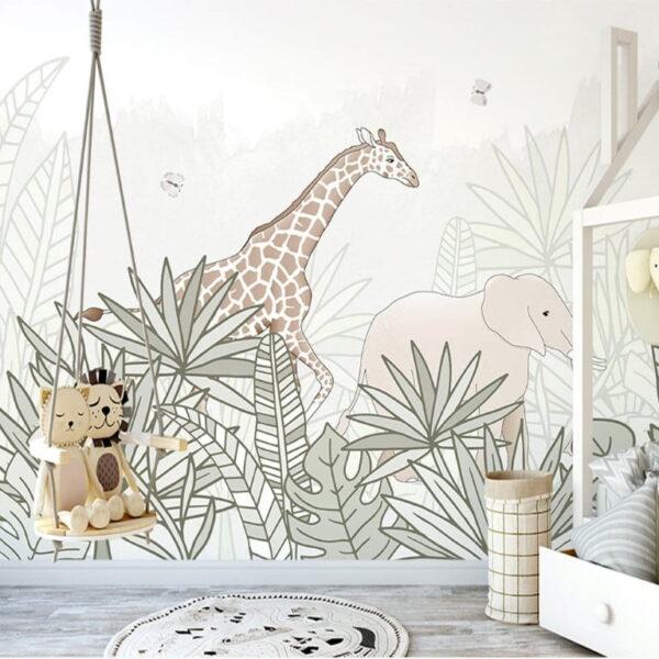 Elephant Giraffe Wall Murals Wallpaper