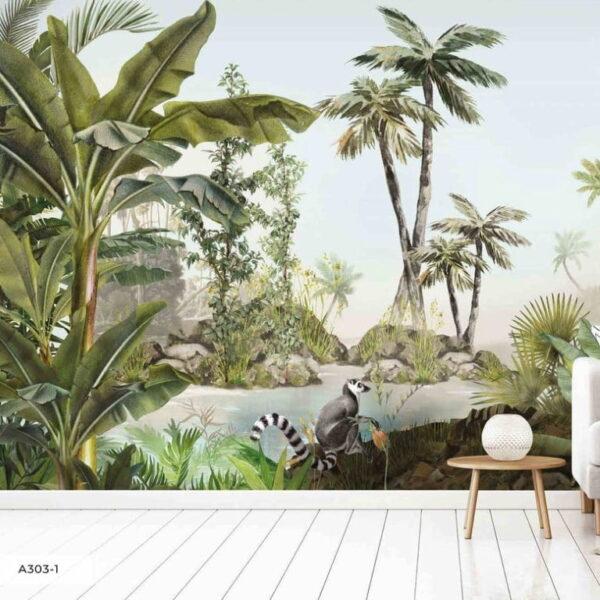 Waterfall in Tropical Jungle Wall Murals Wallpaper