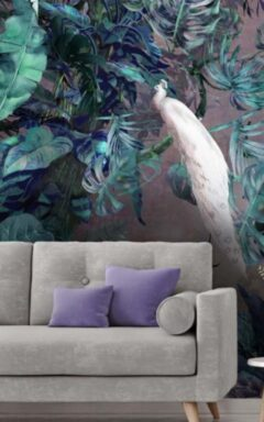 Tropical Purple Plants Wall Murals Wallpaper