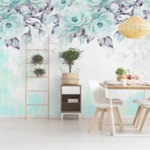 Turquoise Flower Wall Murals Wallpaper