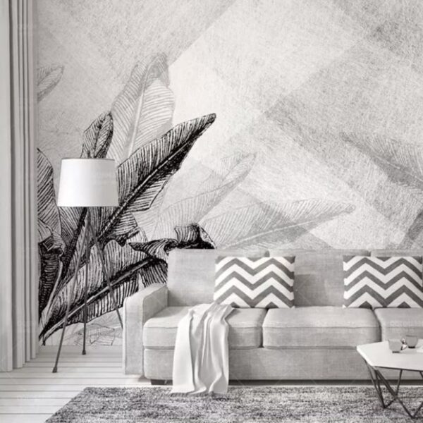 Black Gray Leaves Wall Murals Wallpaper