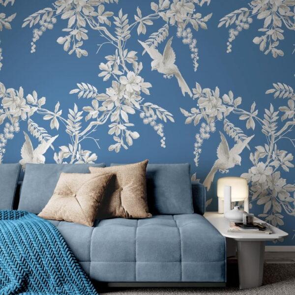 White Birds Flowers Wall Murals Wallpaper