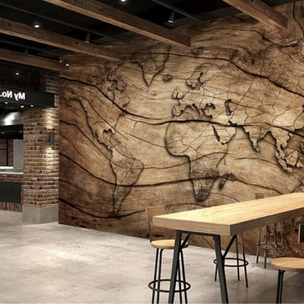 Wood Look Map Wall Murals Wallpaper