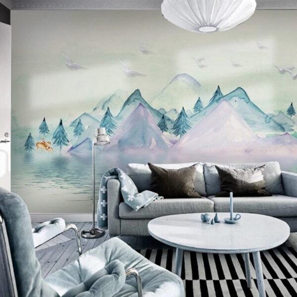 Gray Lake Wall Murals Wallpaper
