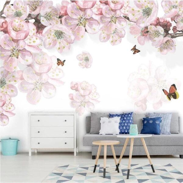 Lila Flowers Wall Murals Wallpaper