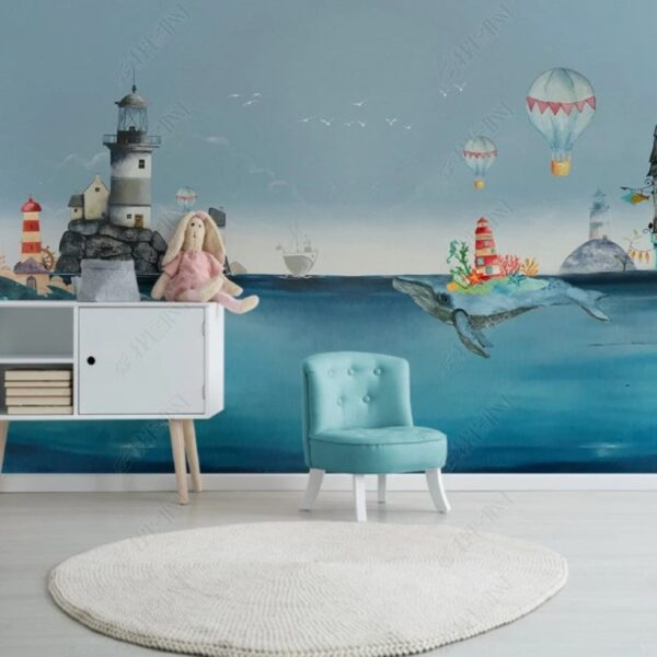 Whale in the Sea Wall Murals Wallpaper