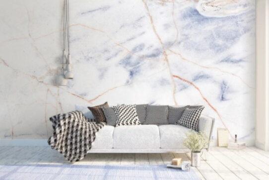 White Blue Marble Wall Murals Wallpaper