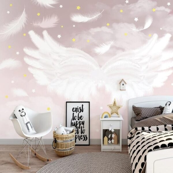 White Wing on Pink Background Wall Murals Wallpaper