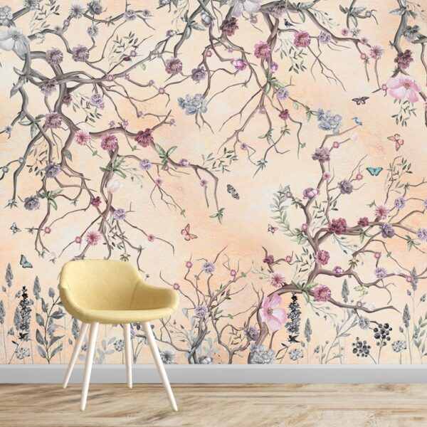 Yellowish Spring Flowers Wall Murals Wallpaper